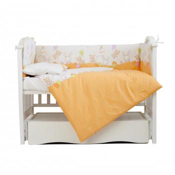 Постельный комплект 4 эл Twins Comfort бампер + сменка 4052-C-021, Горошки оранжевые, оранжевый