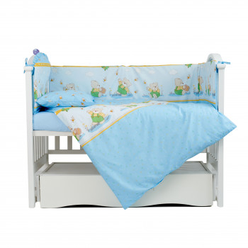 Постельный комплект 4 эл Twins Comfort бампер + сменка  4052-C-011, Медуны голубые, синий