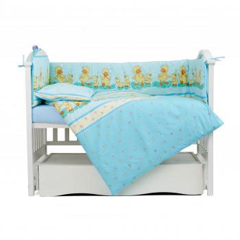 Постельный комплект 4 эл Twins Comfort бампер + сменка 4052-C-025, Утята голубые, синий