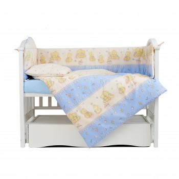 Постельный комплект 4 эл Twins Comfort бампер + сменка 4052-C-017, Игрушки голубые, беж/голубой