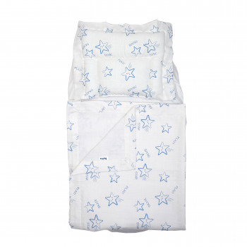 Набор в коляску Twins муслиновый Air (плед, подушка, наматрасник на рез) 1499-TMB-04, Stars blue, белый/синий