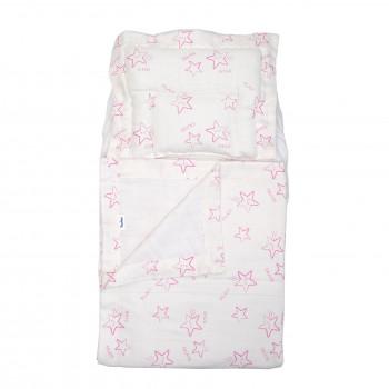 Набор в коляску Twins муслиновый Air (плед, подушка, наматрасник на рез) 1499-TMB-08, Stars pink, белый/розовый