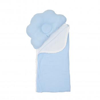 Плед и подушка ортопедическая Twins муслин маршмеллоу 110х80 1411-TMPO-04, blue, голубой