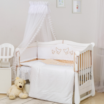 Постельный комплект 8 эл Twins Romantic Dove beige 4024-R-005, white / beige, белый / беж