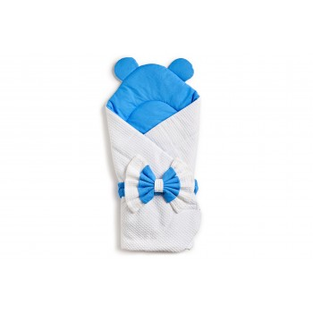 Конверт-плед Twins Waffle Bear с декором 9015-TWBD-04 white / blue, белый / синий