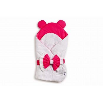 Конверт-плед Twins Waffle Bear с декором 9015-TWBD-0108, white / pink, белый / малиновый