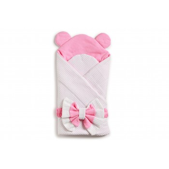 Конверт-плед Twins Waffle Bear с декором 9015-TWBD-08 white / pink, белый / розовый