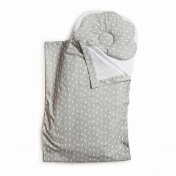 Набор в коляску Twins 100% хлопок (плед, подушка орт, прост) 1499-TMХБ-010, grey, серый