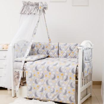 Постельный комплект 8 эл Twins Premium Glamour 4029-TGN-101, Ноченька серая, серый