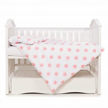 Сменная постель 3 ел Twins Eco Stars 3090-TS-15, coral, белый/розовый