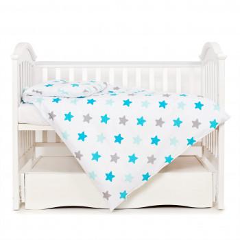 Сменная постель 3 ел Twins Eco Stars 3090-TS-03, Lagoon blue, голубой/белый