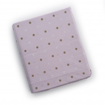 Простыня на резинке Twins Dolce Insta 120x60 бязь 6060-DI-08gp, Горох золото / розовый, розовый