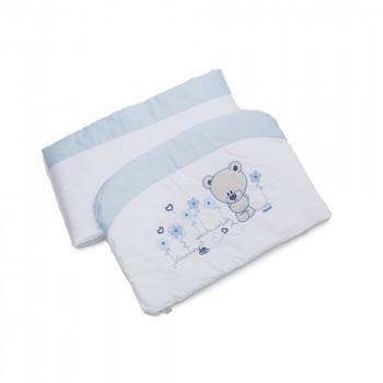 Бампер Twins Evo Лето сатин / аппликация 2073-A-401, white / blue, белый / голубой