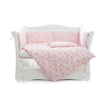 Бампер Twins Comfort line 2054-C-052, Цветочек, розовый