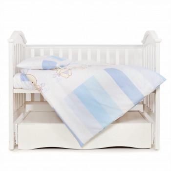 Сменная постель 3 эл Twins Dolce Друзья зайчики 3060-D-003, blue, голубой