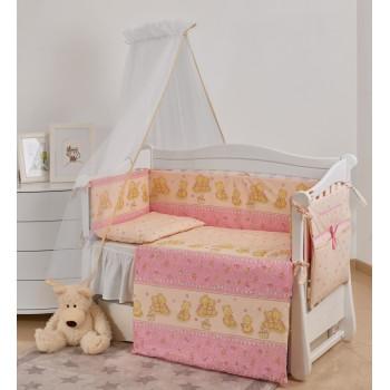 Постельный комплект 7 эл Twins Comfort New 4051-C-119, Горошки розовые, розовый