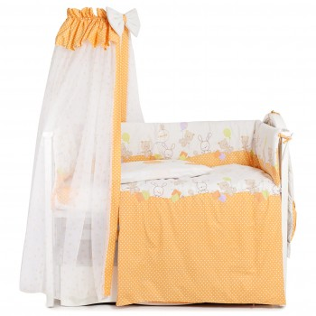 Постельный комплект 7 эл Twins Comfort New 4051-C-121, Горошки оранжевые, оранжевый