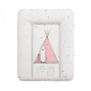 Пеленальный матрас Cebababy 50x70 Lolly Polly W-143-120-607, Lama, белый / розовый