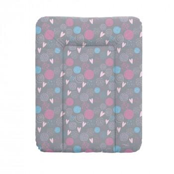 Пеленальный матрас Cebababy 50x70 Lolly Polly W-143-120-609, Love, серый / розовый