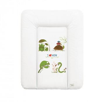Пеленальный матрас Cebababy 50x70 Azteca & Nature W-143-104-100, I love Mom / люблю маму, белый