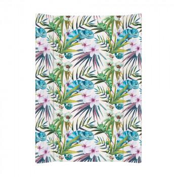 Пеленальная доска Cebababy 50x70 Flora & Fauna W-200-099-542, Camaleon Blanco, белый / зеленый