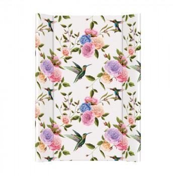 Пеленальная доска Cebababy 50x70 Flora & Fauna W-200-099-546, Flores, белый / розовый