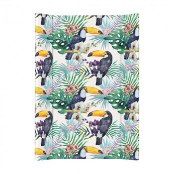 Пеленальная доска Cebababy 50x80 Flora & Fauna W-210-099-544, Tucan, белый / зеленый