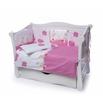 Постельный комплект 4 эл Twins Comfort New бампер подушки 4052-C-119, Горошки розовые, розовый