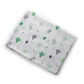 Пеленка Twins муслиновая 110х75 цвета в ассортименте / 1610-TPM-10241, Кактусы, белый / зеленый