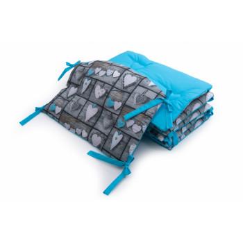 Бампер Twins Premium Стеганый 2027-P-066, Сердечки декор голубой, голубой