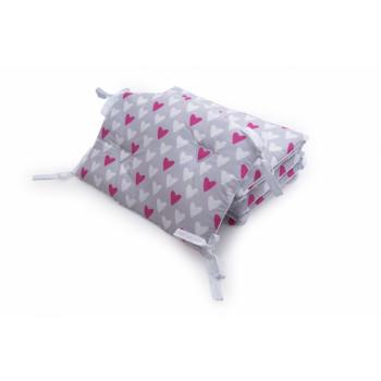 Бампер Twins Premium Стеганый 2027-P-067, Сердечки розово-серые, розовый