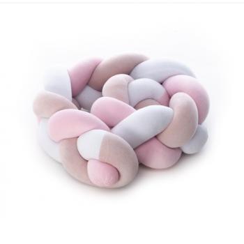 Бампер - косичка Twins 3-х прядна 120 см 2020 K3-120-08, pink, розовый