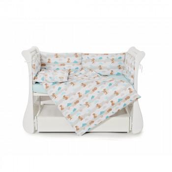 Бампер Twins Comfort line 2054-С-068, Мама и медвежонок, мятный