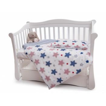 Сменная постель 2 эл Twins Premium 3027-P-060, Звездочка сине-красная, белый / синий