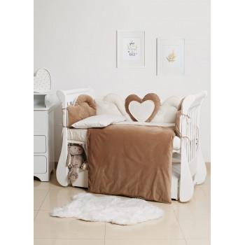 Постельный комплект 6 эл Twins Romantic Heart 4024-R-009-02, caramel, латте