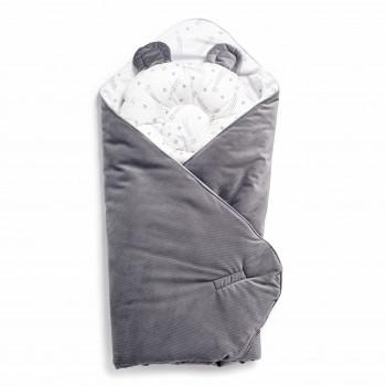 Набор конверт-плед с подушкой Twins Bear 9064-TB-10, grey, серый