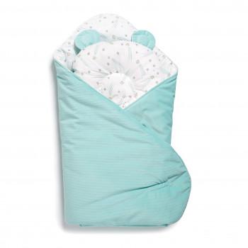Набор конверт-плед с подушкой Twins Bear 9064-TB-14, mint, мятный