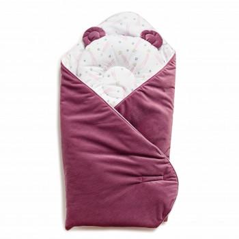 Набор конверт-плед с подушкой Twins Bear 9064-TB-23, purpur, розовый дым