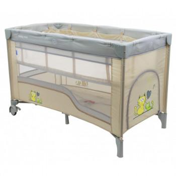 Манеж - кровать Baby Mix HR-8052-2 (2-х уровневый) HR-8052-2, beige, бежевый