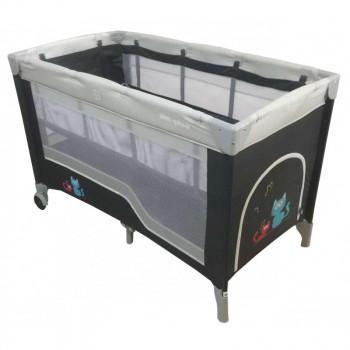 Манеж - кровать Baby Mix HR-8052-2 (2-х уровневый) HR-8052-2, dark grey, графит