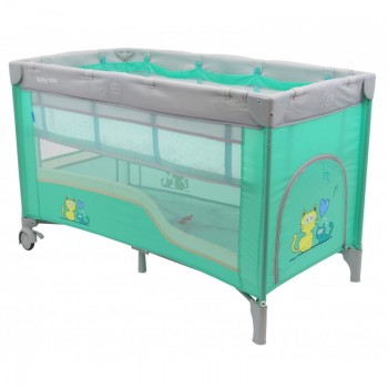 Манеж - кровать Baby Mix HR-8052-2 (2-х уровневый) HR-8052-2, mint, м