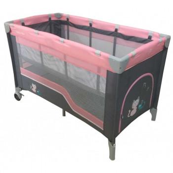 Манеж - кровать Baby Mix HR-8052-2 (2-х уровневый) HR-8052-2, pink, розовый