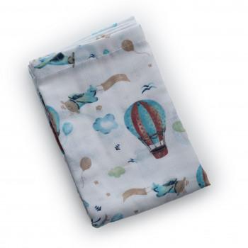 Плед Twins муслиновый 110х75 / цвета в ассортименте / 1410-110 / 75-П, Воздушный шар, голубой