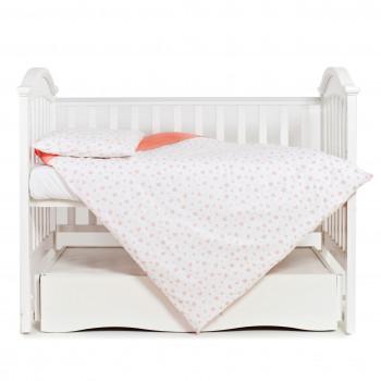 Сменная постель для девочки 3 эл Twins Romantic 3024-R-005, Сердечки коралл, белый / розовый