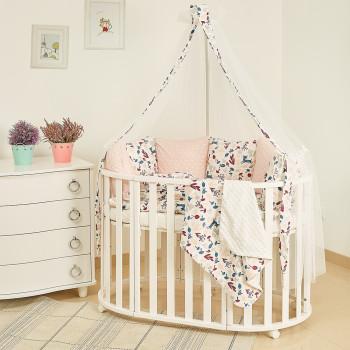 Постельный комплект 8 эл Twins Dolce Лесные жители 4063-D-022, Прованс, белый / розовый