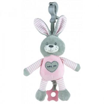 Плюшевая подвеска музыкальная Baby Mix STK-19393R Кролик STK-19393 PR, pink, розовый