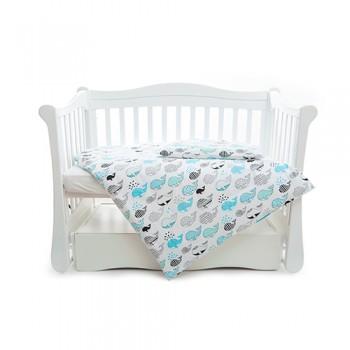 Сменная постель 3 эл Twins Comfort line 3054-C-053, Рыба кит, белый / синий