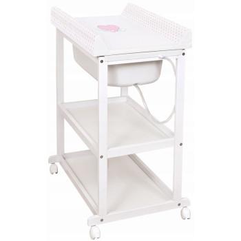 Набор пеленальный с ванной Ceba Laura W-650-055-007, Сердечки, белый / розовый