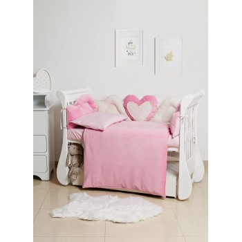 Постельный комплект 6 эл Twins Romantic Heart 4024-R-009-08, pink, розовый