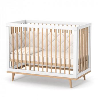 Кроватка Верес ЛД2 Нью-Йорк без колес, на ножках 2.1.1.33.15, бело / буковый, белый / беж